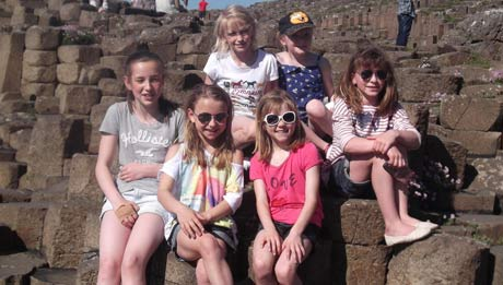 Girls at Giant's Causeway