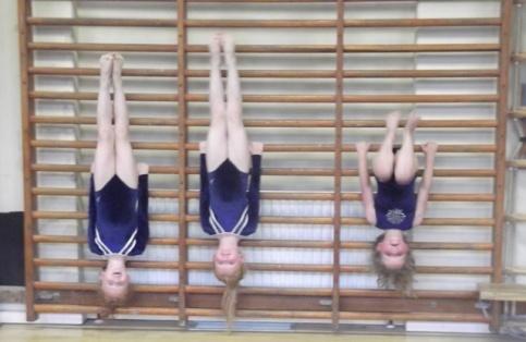 Girls hang upside down from wall bars
