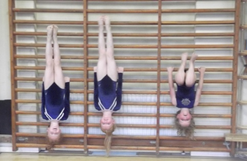 Girls hang upside down from wall bars