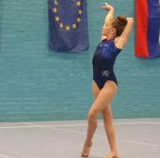 Bella in her 40th anniversary leotard during a competition in August
