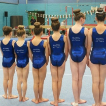 Girls show off their 40th anniversary leotards