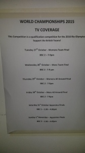 2015 World Gymnastics Championships TV schedule