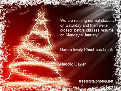 Christmas card message: We are running normal classes on Saturday and then we're closed before classes resume on Monday 4 January. Have a lovely Christmas break. Nadolig Llawen