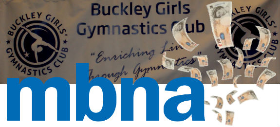 MBNA and Buckley logos with cash