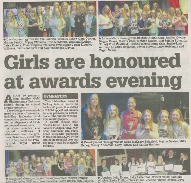 Gymnasts and coaches feature in the Flintshire Chronicle on 21 January 2016