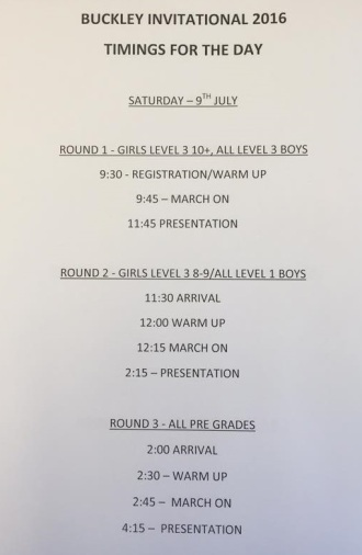 Saturday timings for summer invitational competition