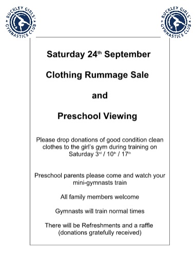 Poster promoting Pre-School viewing on 24 September and request for clothing to be donated for a rummage sale to be held on the same day