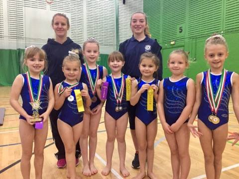 Buckley gymnasts in the North Area Gymspire competition