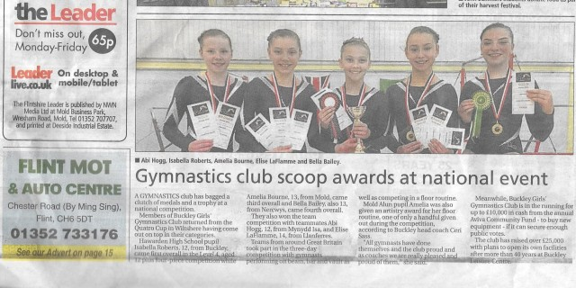 Leader newspaper report following girls' success in Quatro Cup