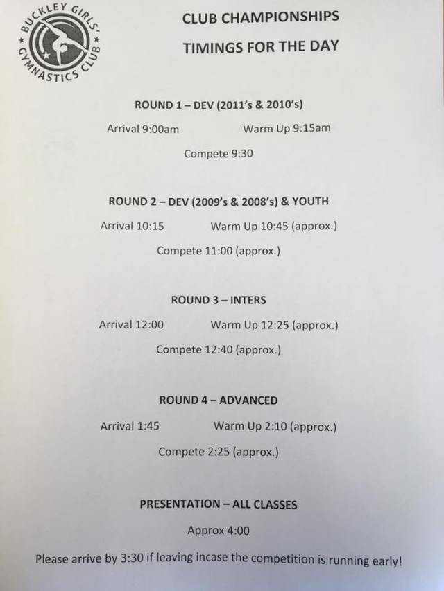 Club champs timetable