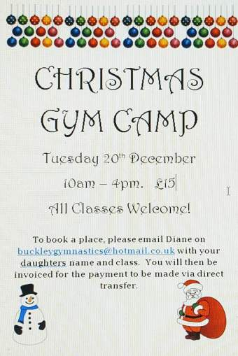 Christmas gym camp poster: Tuesday 20 December, 10-4, £15. Children from a classes welcome