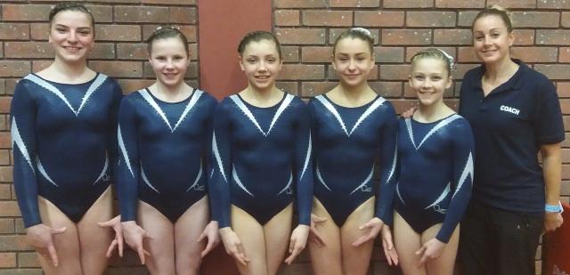 Bella, Abi, Isabella, Elise and Amelia with coach Ceri