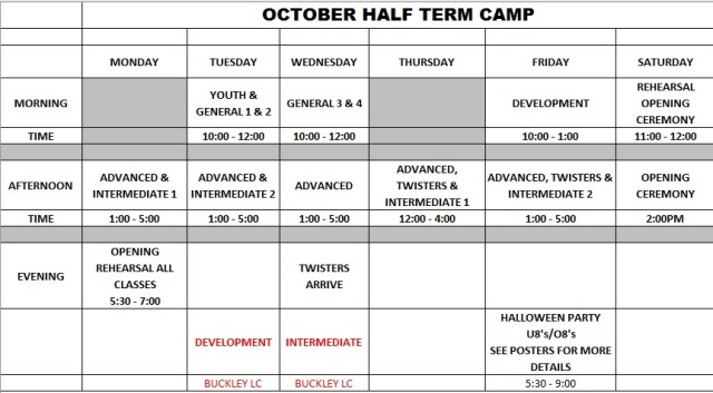 Half term gym camp timetable