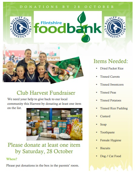 Harvest festival poster: We need your help to give back to our local cxommunity by donating tinned food items to us by 28 October to go to Flintshire Foodbank
