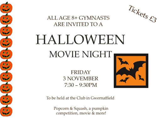 Halloween movie night for gymnasts aged eight and over from 7.30pm