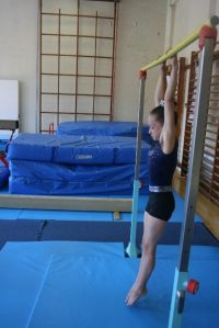 Gymnast on bar