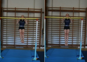 Gymnast on bar