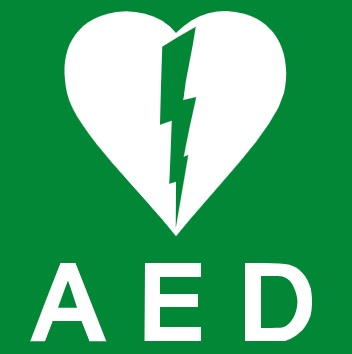 AED logo showing white heart on green background