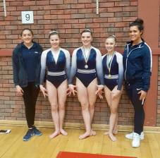 Abi, Bella and Amelia with coaches Danielle and Betty